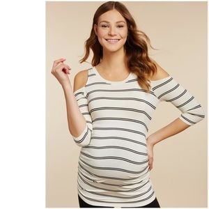 jessica simpson // cold shoulder maternity top